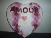Magnifique toile en forme de coeur, pêle-mêle amour version orchidée idéal cadeau de st valentin