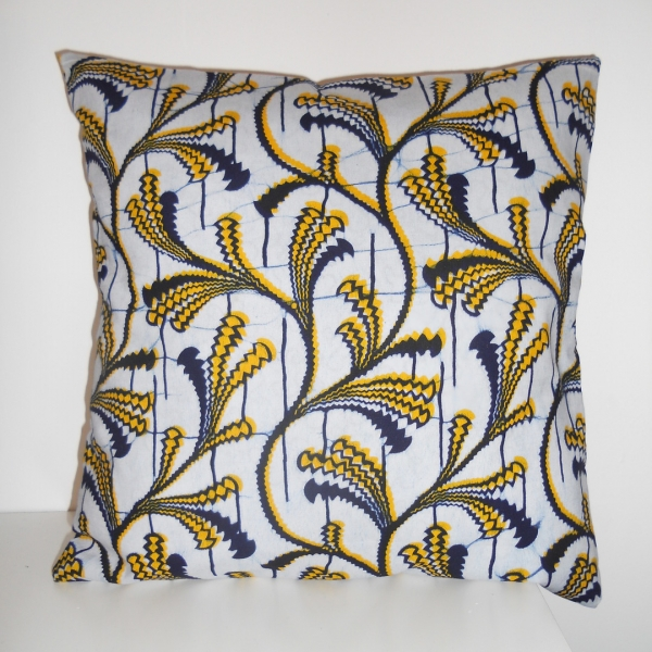 Housse de coussin en wax bleu et jaune 35 x 35 cm : maison et deco