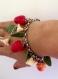 Bracelet fraises fraiches en pâte polymère