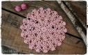 Napperon rond au crochet fait main en 100% coton couleur rose