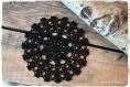 Napperon rond au crochet fait main en 100% coton couleur noir