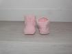 Chaussons bébé 0-3 mois - rose meringue - tricotés main - cadeau naissance