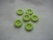Lot de 6 boutons verts pomme 4 trous 12 mm