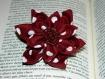 Broche fleur en tissu et en pâte polymère (fimo)