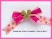 Pince à cheveux noeud barrette pince crocodile originale métal argent rose et doré fleurs ruban satiné rose