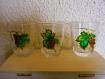 Service à eau de vie carafe verres peinture vitrail vigne papillon