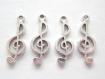 4 jolie breloques notes de musique en métal argenté