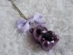 Porte clés ourson kawaii violet et noir