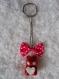 Porte clés ourson kawaii rouge et blanc