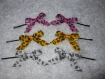 Barrettes, épingles à cheveux et noeuds rose, jaune, blanc lot de 6