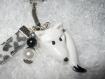 Porte-clés clefs renard blanc et ruban fimo