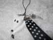 Porte-clés bijou de sac renard blanc et ruban fimo