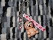 Porte clés chien kawaii beige fimo (pâte polymère)