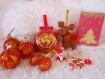 Boite décorations de noël et photophore rouge et or