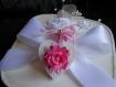 Boîte carrée ruban & dentelle (crochet) blanche mariage
