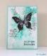Carte d'anniversaire dérive bleutée au grand papillon