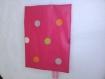 Pochette tissu enduit rouge à pois multicolores