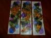 Marque-pages ' ':fleurs et papillons' ' aquarelle et collages sur papier