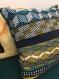 Housse de coussin bleue-jaune et bleue