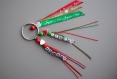 Porte clés de noel personnalisé avec 2 prénoms (ou 2 petit mots ) et rubans messager