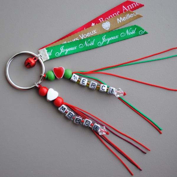 Porte clés de noel personnalisé avec 2 prénoms (ou 2 petit mots ) et rubans  messager ded339ddad3