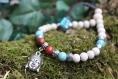 """Bracelet """"djampa"""", homme tibétain en bois, gemmes et métal argenté"""