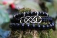 Lot de bracelets homme celtique en gemmes, nylon et métal argenté