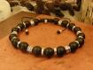 """Bracelet """"gondovald"""", homme médiéval en agate noir mat et métal argenté"""