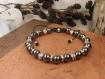 "Bracelet ""gondovald"", homme médiéval en hématite et métal argenté"