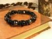 """Bracelet """"rathal"""", homme shamballa dark fantasy en gemmes et coton enduit"""