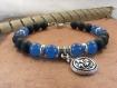 """Bracelet """"keraltian"""", homme médiéval en gemmes et métal argenté"""