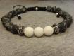 """Bracelet """"kidyac'h"""", homme celtique médiéval en gemmes et plaqué argent"""