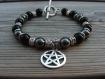"""Bracelet """"morhedr"""", homme celtique-médiéval en gemmes et métal argenté"""