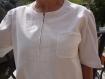 Tunique en velours de coton fin et dentelle blanc cassé