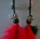Boucles d'oreilles attrape rêves / dream catcher rouge