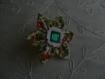 Bague fleur en tissu liberty petites fleurs oranges sur fond blanc