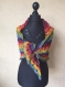 Châle multicolore crocheté main