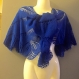 Châle bleu tricote main sur commande!!!