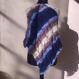 Poncho bleu et marron melange tricote main