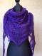 Châle violet fonce tricote main