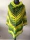 Poncho en 100% laine tricote main vert-jaune