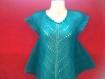 Tunique turquoise tricote main (promotion de noël - 5 euro)