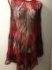 Poncho tricote main noir-rouge (promotion de noël -15 euro)