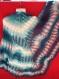 Châle blanc-bleu tricote main promo nôel - 15 euro