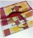 Sac à tarte en tissu à carreaux doublé d'un tissu rouge.
