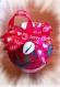 Boule de noël en polystyrène rouge et madras