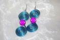 Boucles d'oreilles torsadé bleue et rose