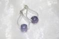 Boucles d'oreilles pendantes pvc et perle violet noir