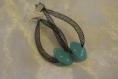 Boucles d'oreilles pendantes resille et perle