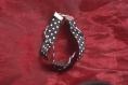 Bracelet ruban vichy noir et blanc et tresse trois brins